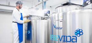 técnico de laboratório abre tanque de criopreservação de células estaminais no laboratório bebévida