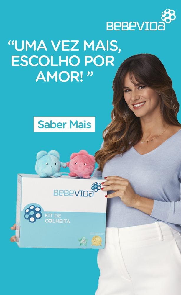 Claudia Vieira com Kit de Criopreservação de Células Estaminais BebéVida